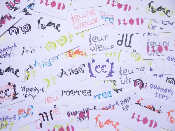 Lettrages imprimés en sérigraphie à l'occasion des Puces Typos 2012