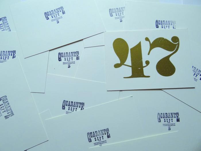 Lettrages imprimés en sérigraphie à l'occasion des Puces Typos 2012 pour le Collectif 47, 2013