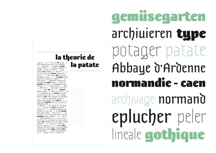 Ce projet est le fruit d'un workshop de quatre jours, à six mains à l'IMEC de Caen. Il était question d'améliorer le système d'archivage du site. Une variante très grasse pour être repérée de loin et de plus en fine à mesure que l'on affine sa recherche au sein des archives. Réalisé avec Roxane Gataud et Hugues Gentile.